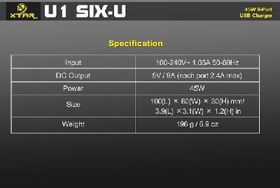 характеристики XTAR U1 SIX-U