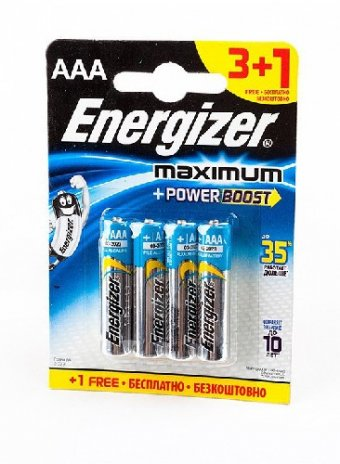 Элемент питания Energizer Maximum+Power Boost ААА BL4