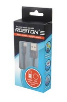 Кабель ROBITON Р3 AppleLightning/1m/SyncCharg USB Lightning, 1м черный