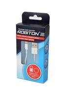 Кабель ROBITON Р3 AppleLightning/1m/SyncCharg USB Lightning, 1м белый
